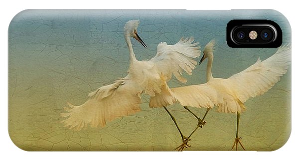 Snowy Egret Dance IPhone Case