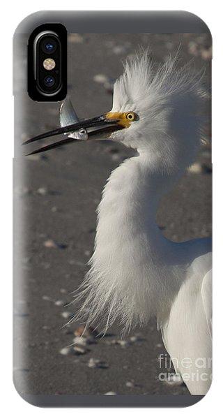Snowy Egret Fishing IPhone Case