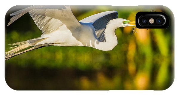 Snowy Egret Flying With A Branch IPhone Case