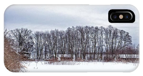 New England Barn iPhone Case - Snowy Farm by HD Connelly