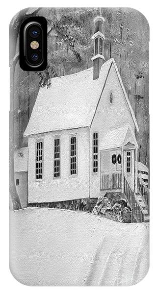 Snowy Gates Chapel -white Church - Portrait View IPhone Case