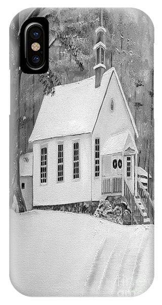 Snowy Gates Chapel -white Church - Portrait View IPhone Case