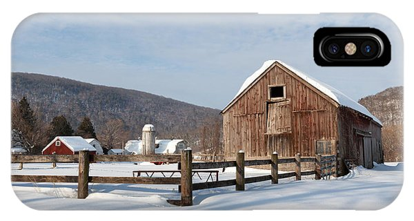 New England Barn iPhone Case - Snowy New England Barns by Bill Wakeley