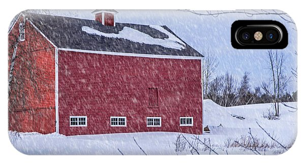 Snowy Red Barn IPhone Case