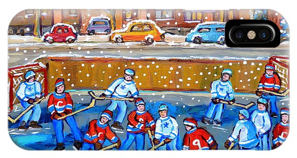 Snowy Rink Hockey Game Montreal Memories Winter Street Scene Painting Carole Spandau IPhone Case
