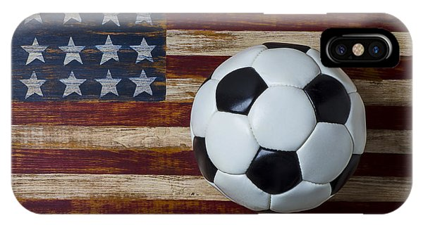 Soccer iPhone Case - Soccer Ball And Stars And Stripes by Garry Gay