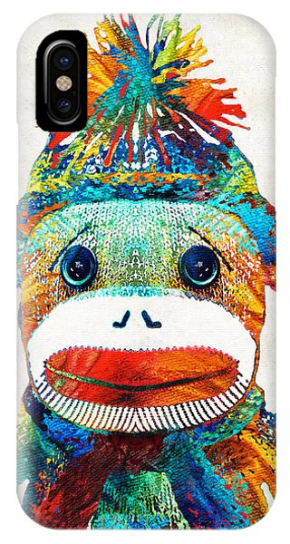 Primary Colors iPhone Case - Sock Monkey Art - Your New Best Friend - By Sharon Cummings by Sharon Cummings