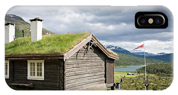 IPhone Case featuring the photograph Sod Roof Log Cabin by IPics Photography