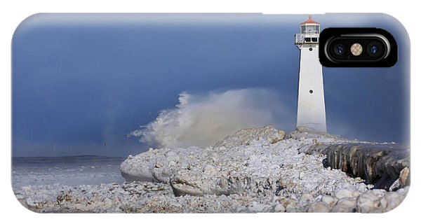 Winter iPhone Case - Sodus Bay Lighthouse by Everet Regal