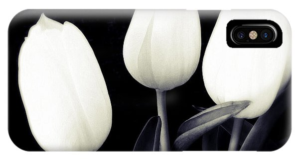 Bright iPhone Case - Soft And Bright White Tulips Black Background by Matthias Hauser