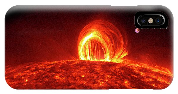 Solar Plasma Loops And Earth To Scale IPhone Case