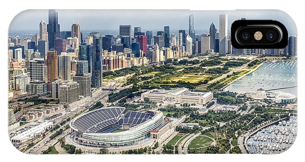 Helicopter iPhone X Case - Soldier Field And Chicago Skyline by Adam Romanowicz