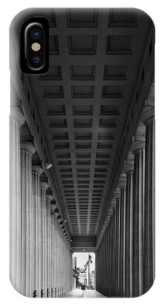 Soldier Field iPhone Case - Soldier Field Colonnade Chicago B W B W by Steve Gadomski