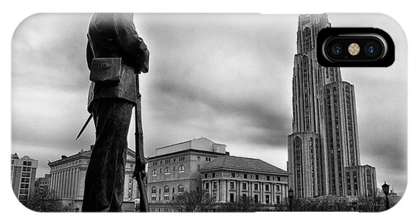 Soldiers Memorial And Cathedral Of Learning IPhone Case