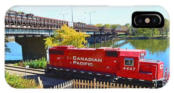 Solo Red Canadian Pacific Engine Along Rock River In Rockford IPhone Case