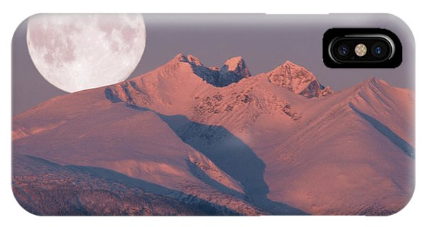 Solstice Sunrise Alpenglow Full Moon Setting IPhone Case