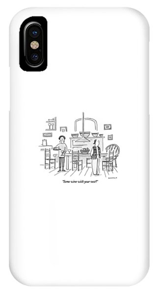 Wine Pouring iPhone Case - Some Wine With Your Vest? by Liza Donnelly