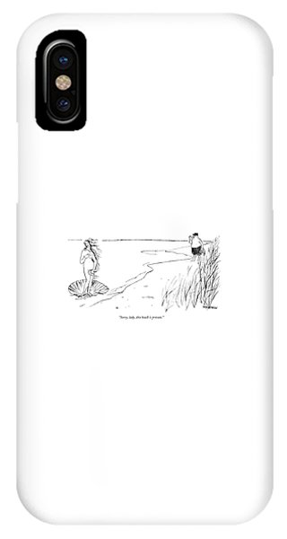 Botticelli iPhone Case - Sorry, Lady, This Beach Is Private by James Stevenson
