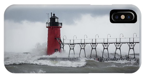 South Haven Pier Light In A Storm IPhone Case