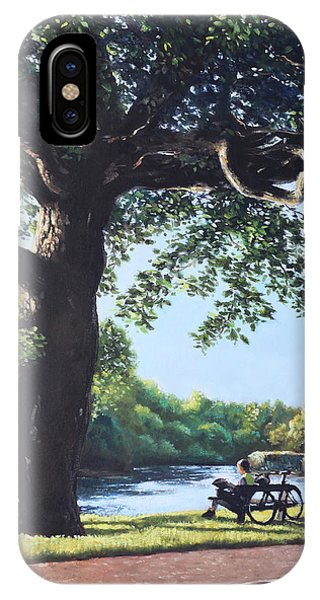 Southampton Riverside Park Oak Tree With Cyclist IPhone Case