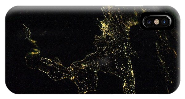 International Space Station iPhone Case - Southern Italy At Night From Space by Nasa/science Photo Library