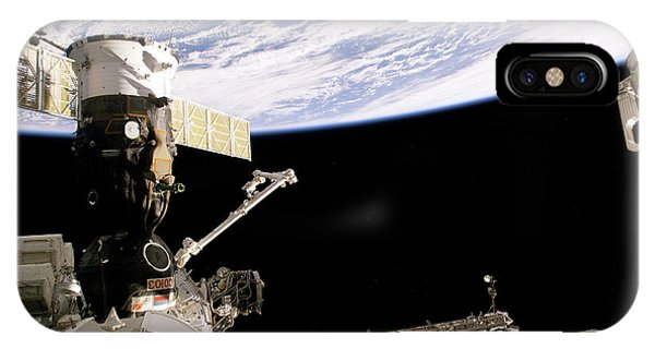 International Space Station iPhone Case - Soyuz Spacecraft At The Iss by Nasa/science Photo Library