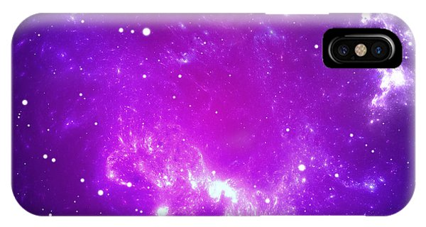 Space Background With Purple Nebula And Stars Phone Case by Peter Jurik