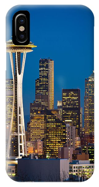 Downtown Seattle iPhone Case - Space Needle Evening by Inge Johnsson