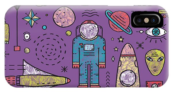 Explosion iPhone X Case - Space Planets Stars Cosmonaut Design by Popmarleo