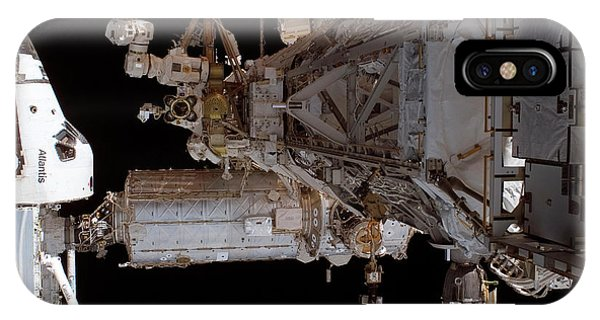 International Space Station iPhone Case - Space Shuttle Atlantis Docked On The Iss by Nasa/science Photo Library