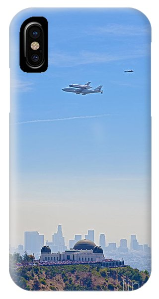 Space Shuttle Endeavour And Chase Planes Over The Griffith Observatory IPhone Case