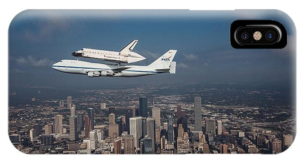 Space Shuttle Endeavour Over Houston Texas IPhone Case