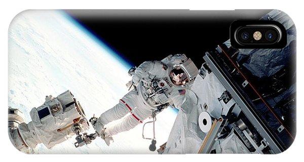 International Space Station iPhone Case - Space Walk On The Iss by Nasa/science Photo Library