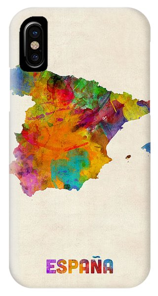 Print iPhone Case - Spain Watercolor Map by Michael Tompsett