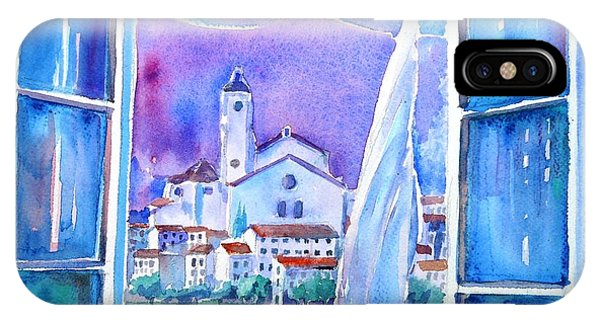 Spanish Window In Cadaques And The Church Of Santa Maria IPhone Case
