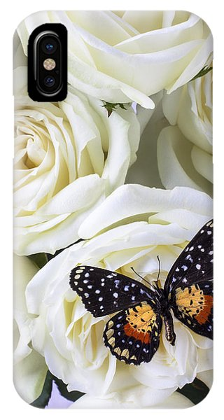 Floral iPhone Case - Speckled Butterfly On White Rose by Garry Gay