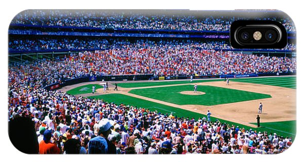 New York Mets iPhone Case - Spectators In A Baseball Stadium, Shea by Panoramic Images