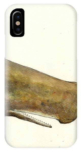 Whale iPhone Case - Sperm Whale First Part by Juan  Bosco