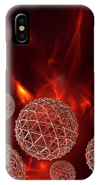 Fire Ball iPhone Case - Spheres On Red Background by Victor Habbick Visions