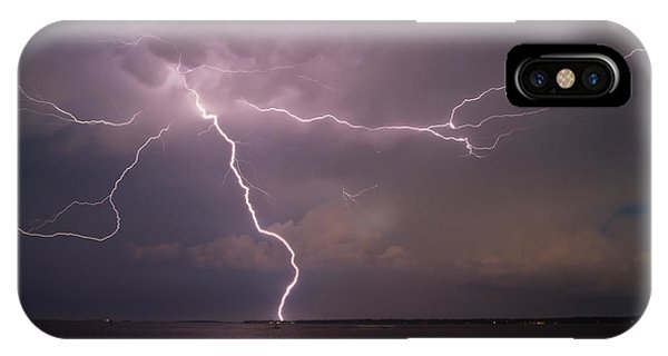 Spider Lightning Over Charleston Harbor IPhone Case