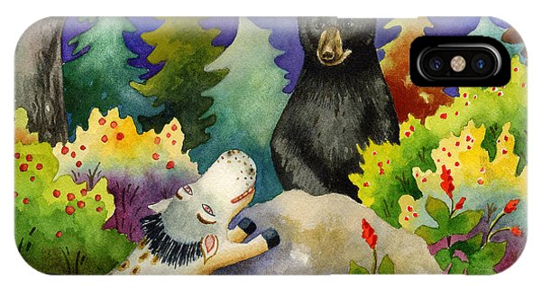 Spike The Dhog Encounters A Mother Bear In The Forest Phone Case by Anne Gifford