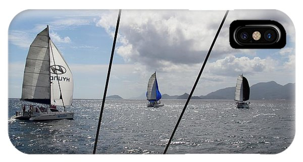 IPhone Case featuring the photograph Spinnakers In The Seychelles by Debbie Cundy