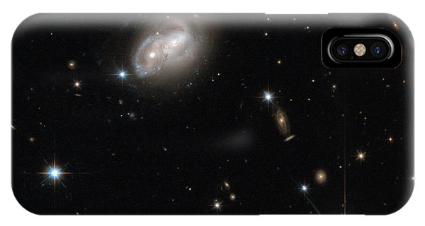 Luminous Body iPhone Case - Spiral Galaxies Interacting by Science Source