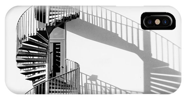 Monochrome iPhone Case - Spiral Staircase With Shadow by Rainer Czerwonka