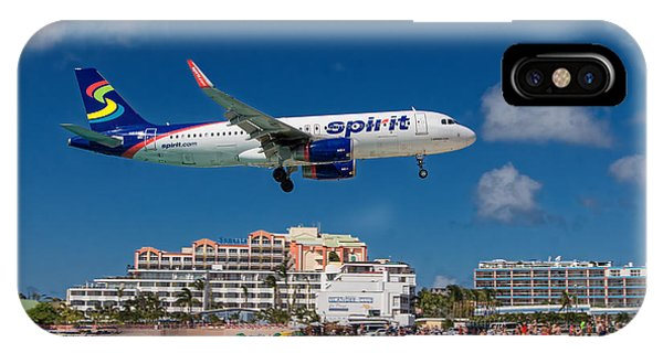 Spirit Airlines Low Approach To St. Maarten IPhone Case
