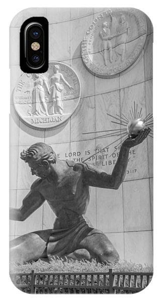 Spirit Of Detroit Black And White  IPhone Case