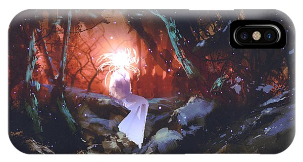 Magic iPhone Case - Spirit Of The Enchanted Forest,woman In by Tithi Luadthong
