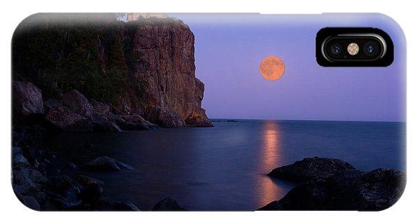 Full Moon iPhone Case - Split Rock Lighthouse - Full Moon by Wayne Moran