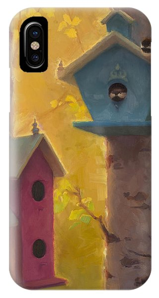 Spring Chickadees 2 - Birdhouse And Birch Forest IPhone Case