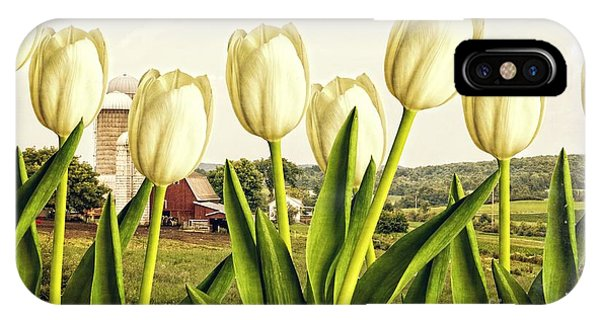 White Tulip iPhone Case - Spring Down On The Farm by Edward Fielding